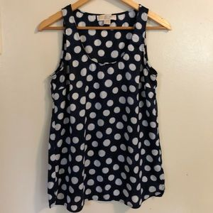 💝 Michael Kors Navy Polka Dot Sleeveless Top